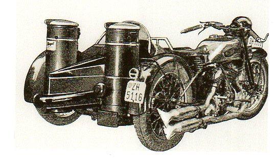 Side car BSA équipé d'un gazogène à charbon de bois